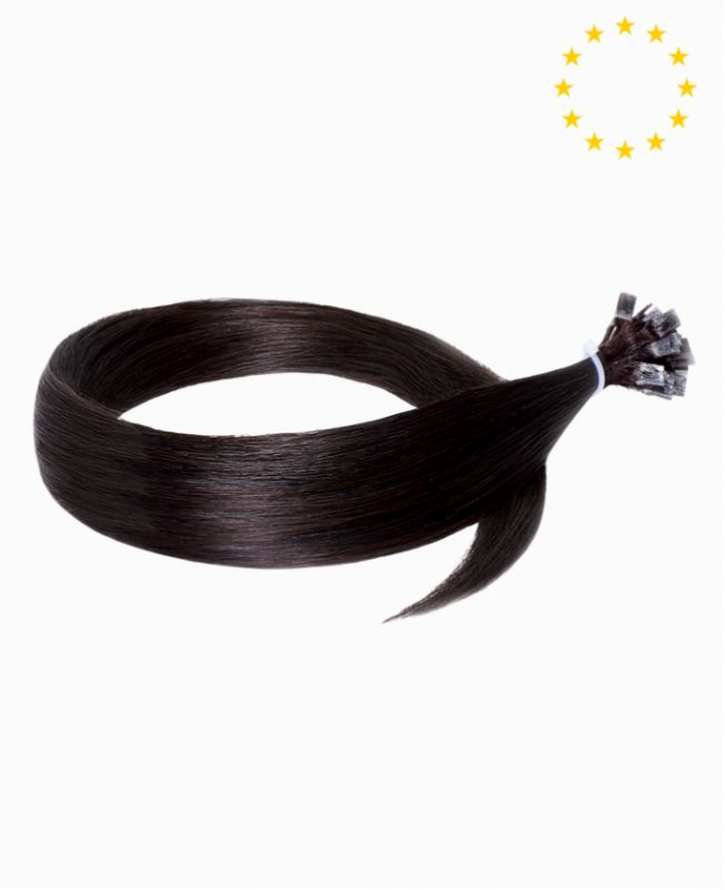 """Pre-bonded Remy Human Hair Extensions 22"""" - Straight - European - Color 1B"""