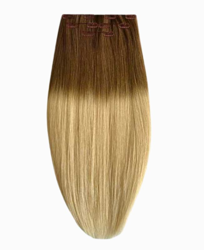 """Clip in Human Hair Extensions 16"""" (Set of 80 gr) Straight - Excellence - Color Tie And Dye 22-6"""