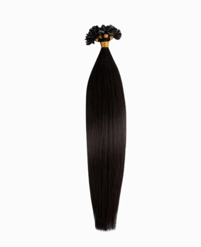 """Pre-bonded Remy Human Hair Extensions 18"""" - Straight - Premium - Color 1B"""