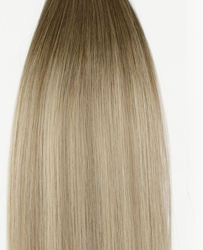 """Clip in Human Hair Extensions 18"""" (Set of 110 gr) Straight - Excellence - Color Balayage Moscou"""