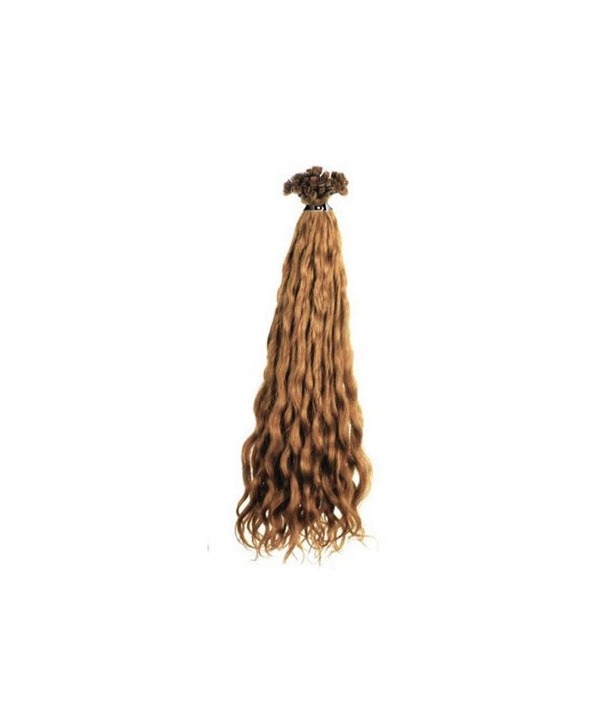 Extension cheveux Bouclé SOCAP - 10 Extensions à chaud 50 cm - Blond Naturel doré cendré 14