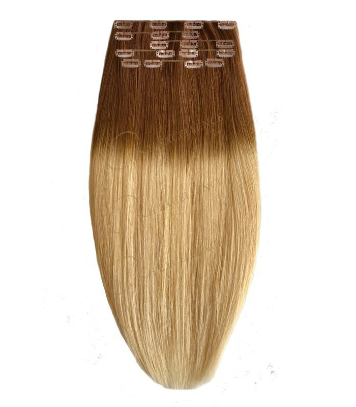 extension a clip lisse ombre tie dye blond extension cheveux remy hair. Black Bedroom Furniture Sets. Home Design Ideas