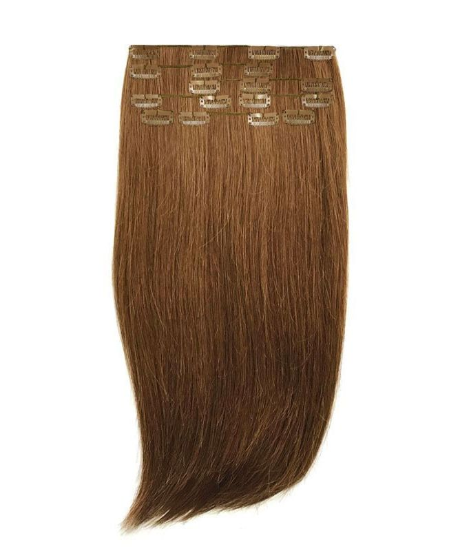 """Clip in Human Hair Extensions 18"""" (Set of 110 gr) Straight - Excellence - Color 6"""