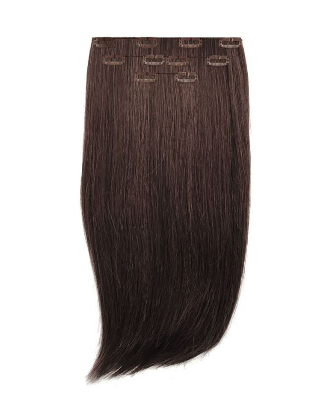 """Clip in Human Hair Extensions 16"""" (Set of 80 gr) Straight - Excellence - Color 2"""