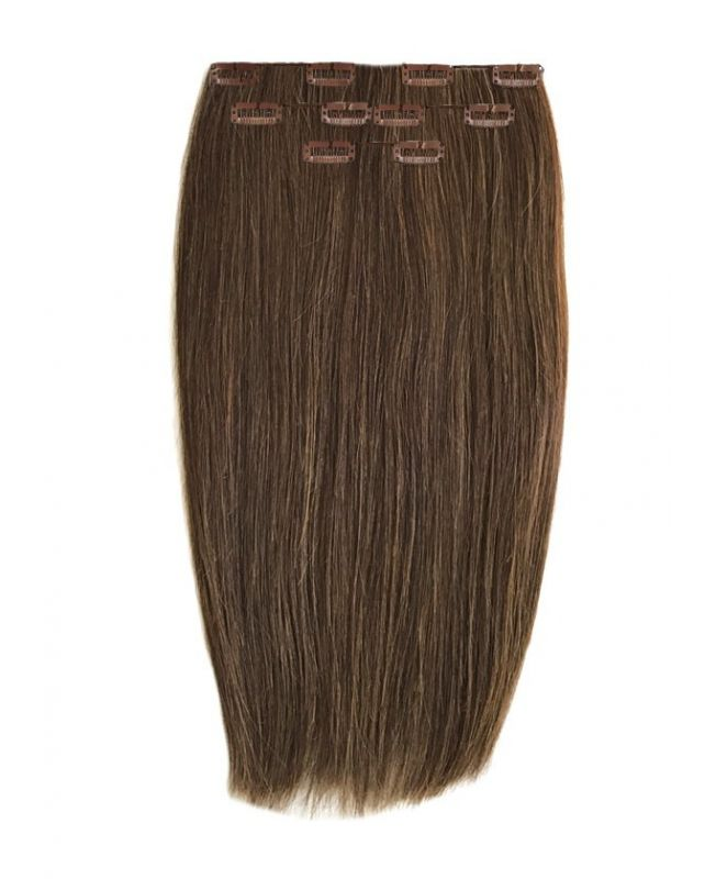 """Clip in Human Hair Extensions 16"""" (Set of 80 gr) Straight - Excellence - Color 4"""