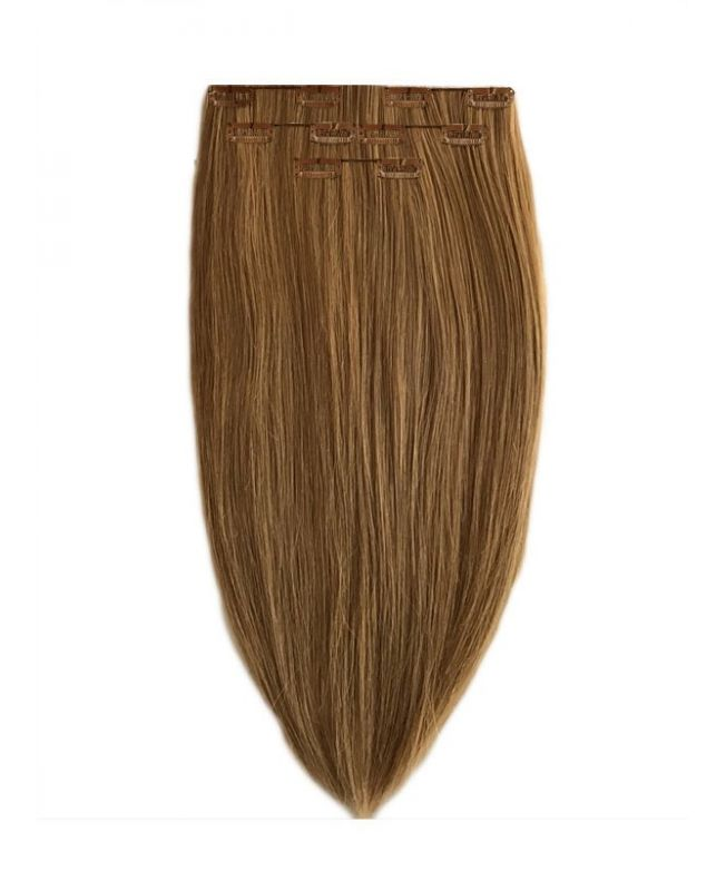 """Clip in Human Hair Extensions 16"""" (Set of 80 gr) Straight - Excellence - Color 10"""
