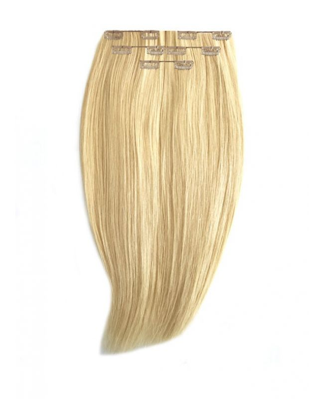 """Clip in Human Hair Extensions 16"""" (Set of 80 gr) Straight - Excellence - Color 22"""