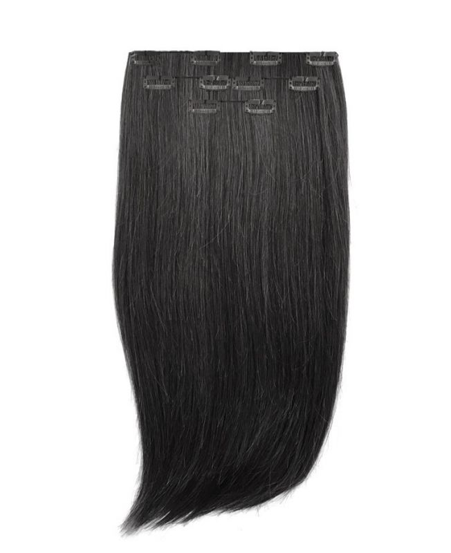 """Clip in Human Hair Extensions 16"""" (Set of 80 gr) Straight - Excellence - Color 1"""