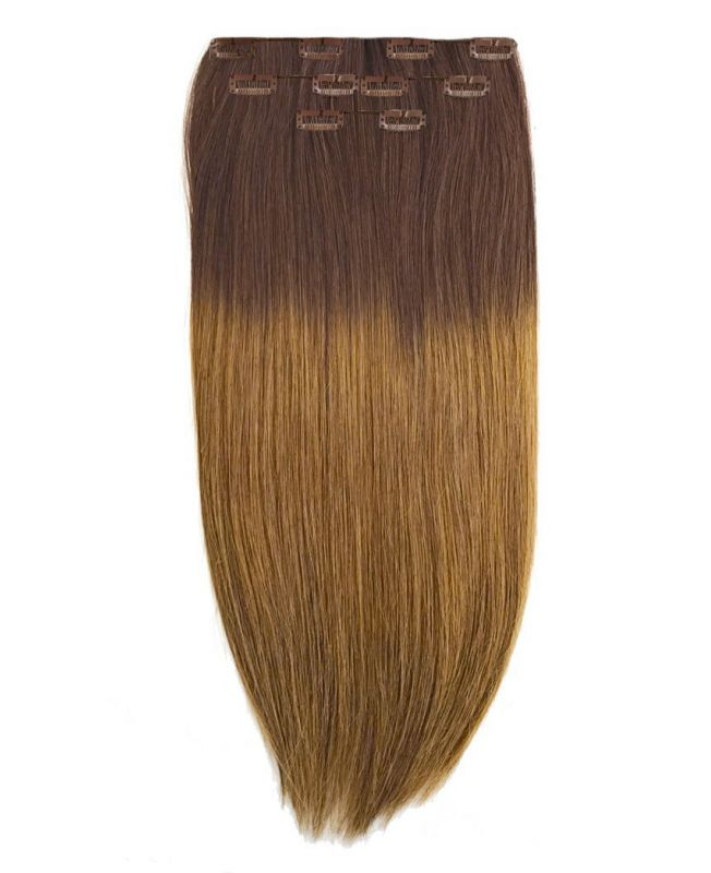 """Clip in Human Hair Extensions 16"""" (Set of 80 gr) Straight - Excellence - Color Tie And Dye 4-10"""