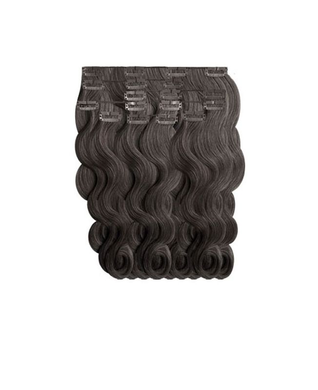"""Clip in Human Hair Extensions 18"""" (Set of 110 gr) Nature Wave - Excellence - Color 1B"""