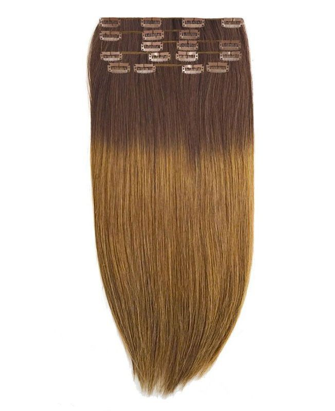 Extension a Clip Lisse - Ombré Chatain N°4/10 - Extension cheveux