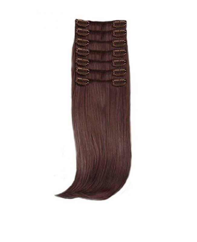 """Clip in Hair Extensions 18"""" (Set of 150 gr) Straight - Synthetic Fiber - Color 4"""