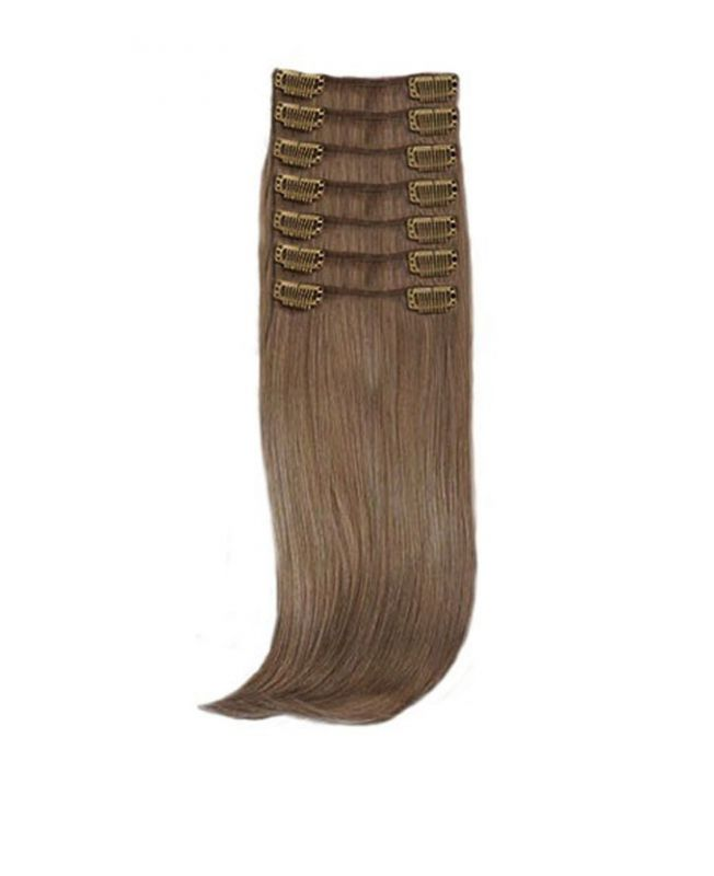 """Clip in Hair Extensions 18"""" (Set of 150 gr) Straight - Synthetic Fiber - Color 8"""