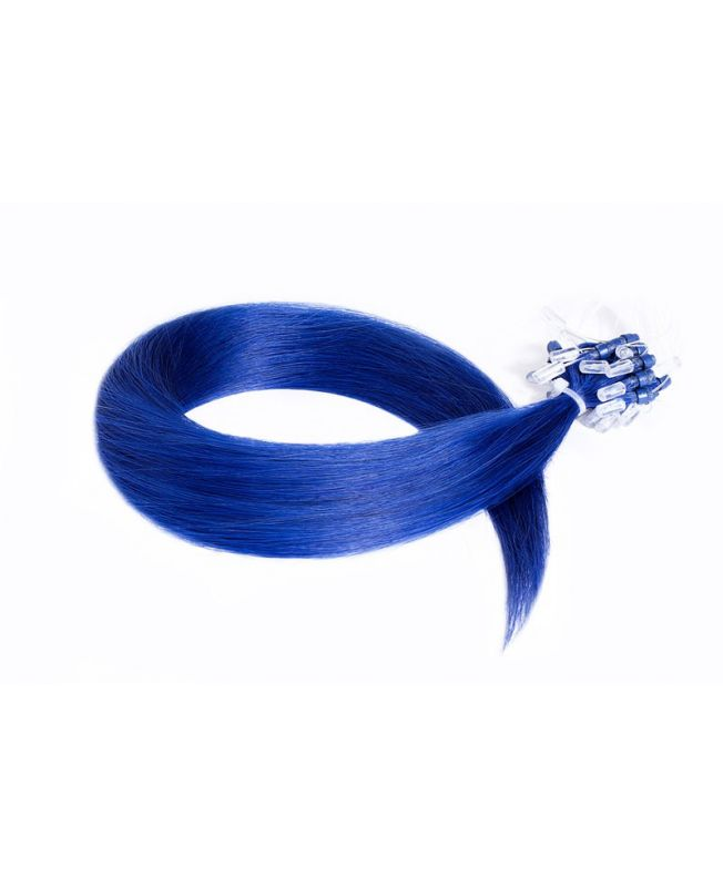 """Easy Loop Remy Human Hair Extension 18"""" - Straight - Excellence - Color Blue"""