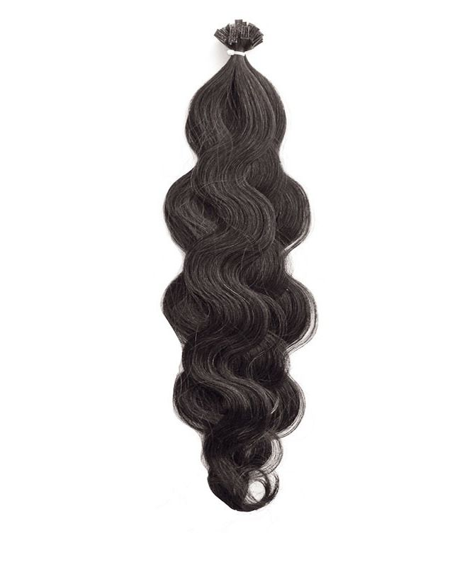 """Pre-bonded Remy Human Hair Extensions 18"""" - Wave - Excellence - Color 1B"""