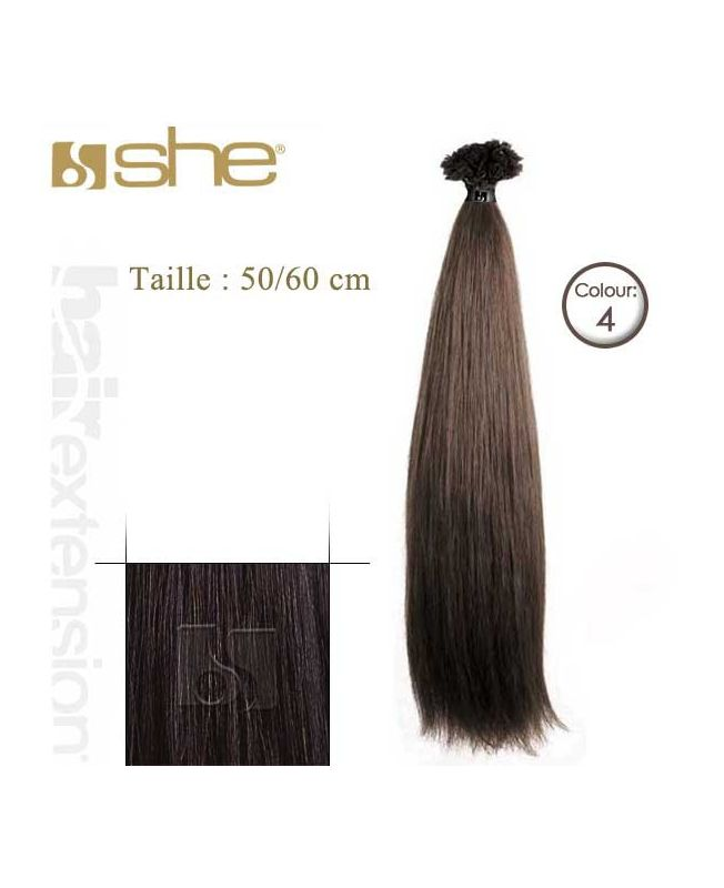 Extension cheveux Lisse - SHE - 10 Extensions kératine 50/60 cm - N° 4