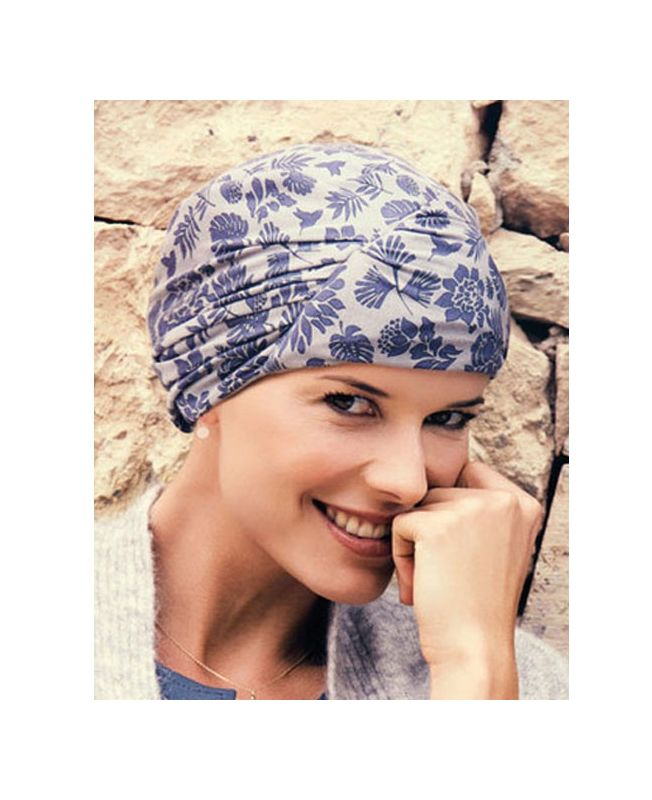 Turban / Scarf for Chemotherapy - Meda Cobblestone Blue - MIO Collection by Ellen Wille