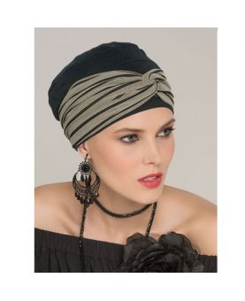 Turban / Foulard pour Chimiothérapie - Tala Set Black Taupe - Collection Latifa by Ellen Wille