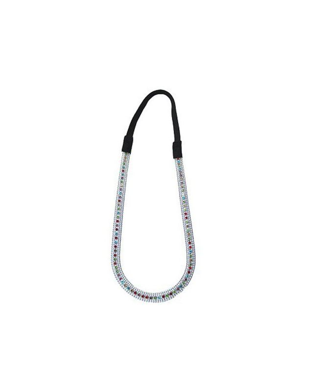 Headband argenté et strass multicolores