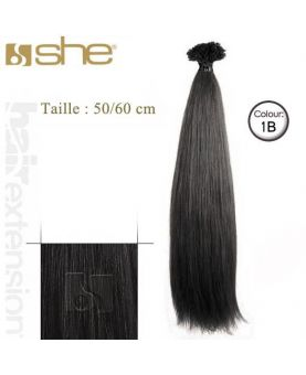 Extension cheveux Lisse - SHE by Socap - 10 Extensions kératine 50/60 cm - N° 1B