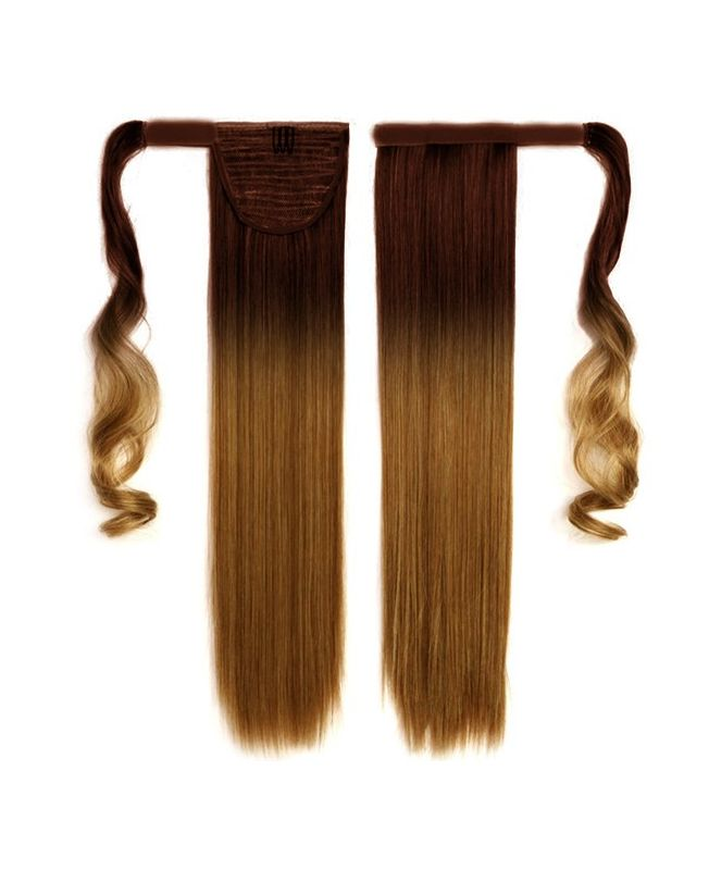 """Ponytail Human Hair 16"""" (Set Of 70 Gr) Straight - Excellence - Color Tie & Dye 4-10"""