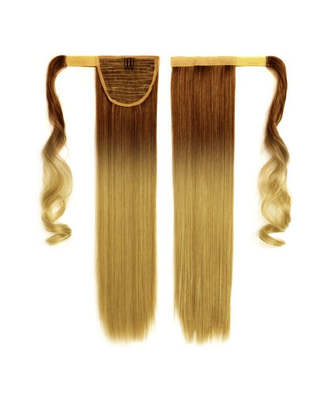 """Ponytail Human Hair 16"""" (Set Of 70 Gr) Straight - Excellence - Color Tie & Dye 6-22"""