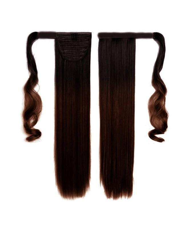 """Ponytail Human Hair 16"""" (Set Of 70 Gr) Straight - Excellence - Color Tie & Dye 1B-4"""