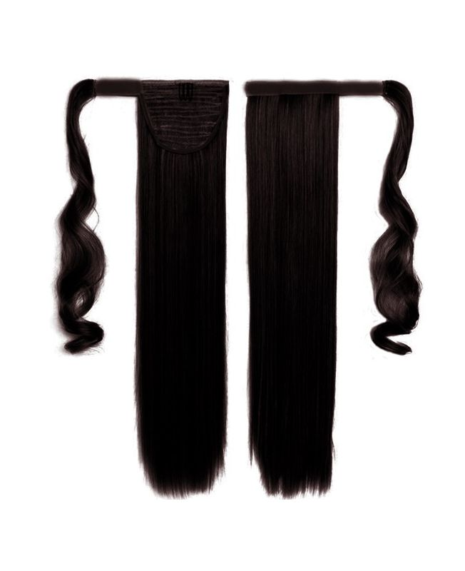 """Ponytail Human Hair 16"""" (Set Of 70 Gr) Straight - Excellence - Color 1B"""